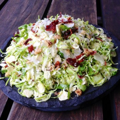 Shredded Brussels Sprout Salad With Fennel, Apple, Rocket and Bacon, 185 Calories Per Serve.
