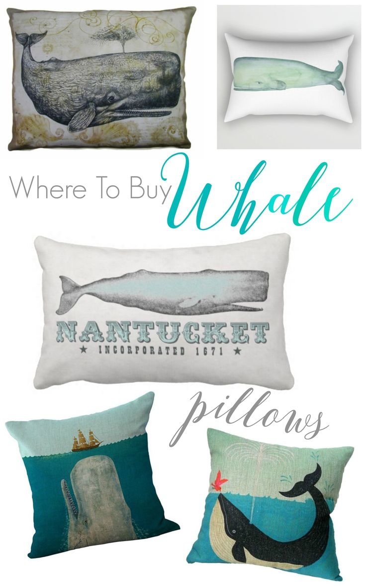where to buy whale pillows - great resource for coastal style beach decor shopping sources.