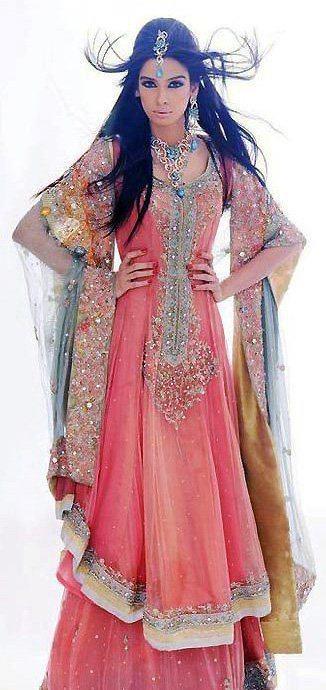 pink and blue, designer wear, long kamez lehnga , bridal wear