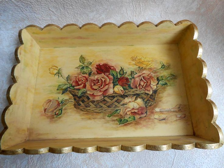 Unfinished Wooden Trays For Decoupage Decoration Pleasing 163 Best Charolas De Servicio Vintage Images On Pinterest  Trays 2018
