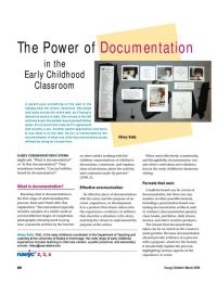 The Power of Documentation in the Early Childhood Classroom