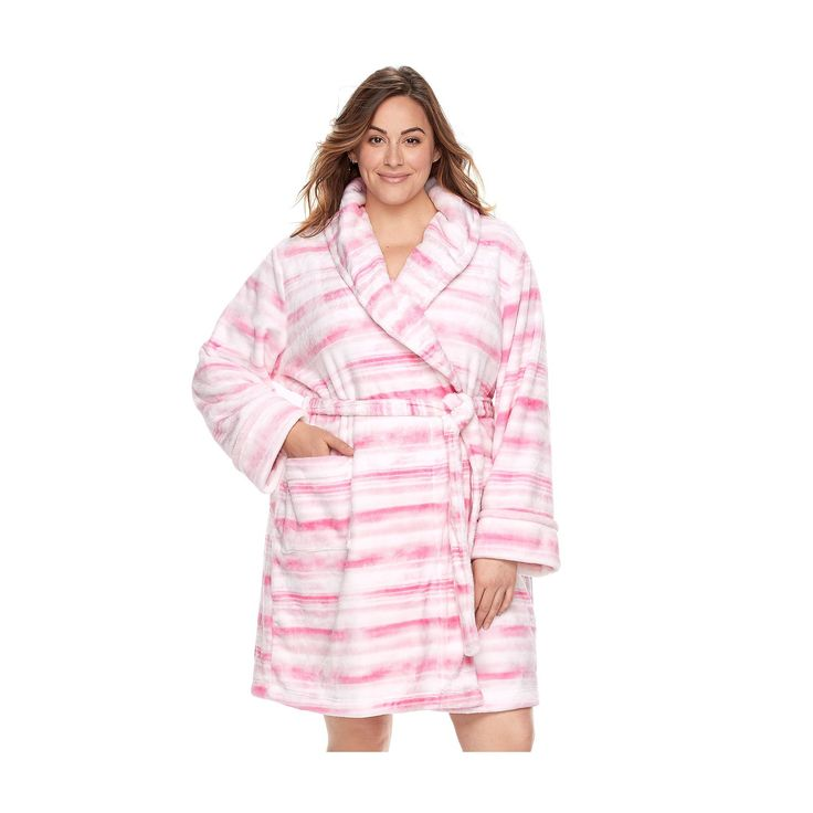 Plus Size SONOMA Goods for Life™ Plush Short Robe, Women's, Size: 3XL, Brt Pink