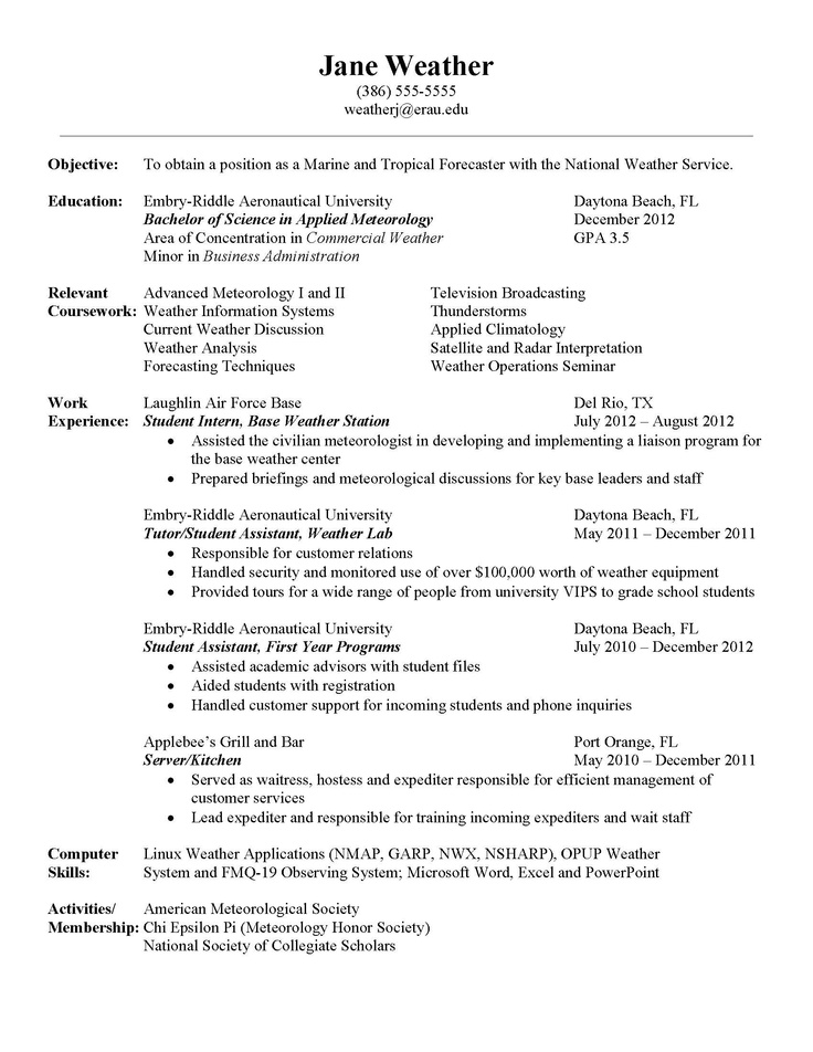 7 best Meteorology images on Pinterest Meteorology, College life - marine resume
