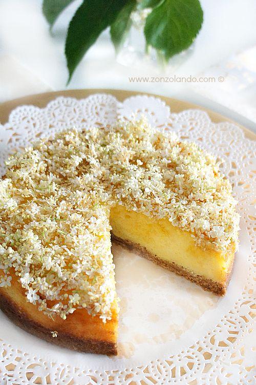 Cheesecake ai fiori e allo sciroppo di sambuco - Elderflower syrup and flower cheesecake