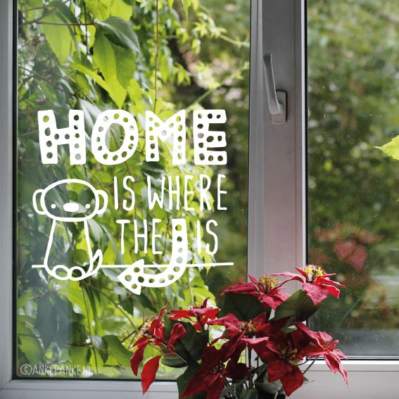 'Home is where the dog is' quote, een lieve met de handgetekende quote met hondje #raamtekening voor échte gekke honden liefhebbers.