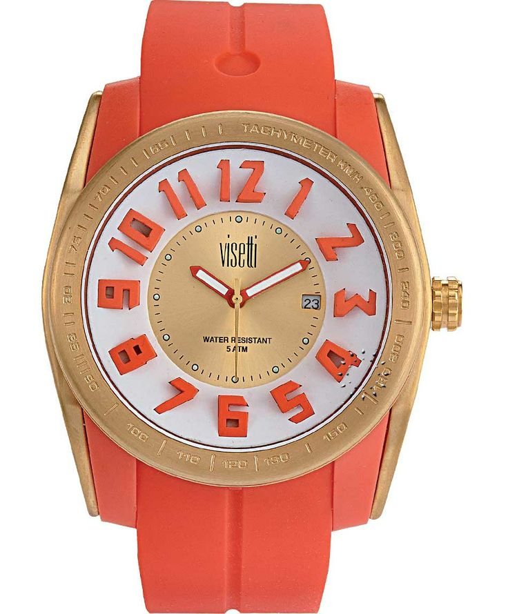 VISETTI Bolero Gold Orange Rubber Strap Μοντέλο: FC-751GO Τιμή: 55€ http://www.oroloi.gr/product_info.php?products_id=39471