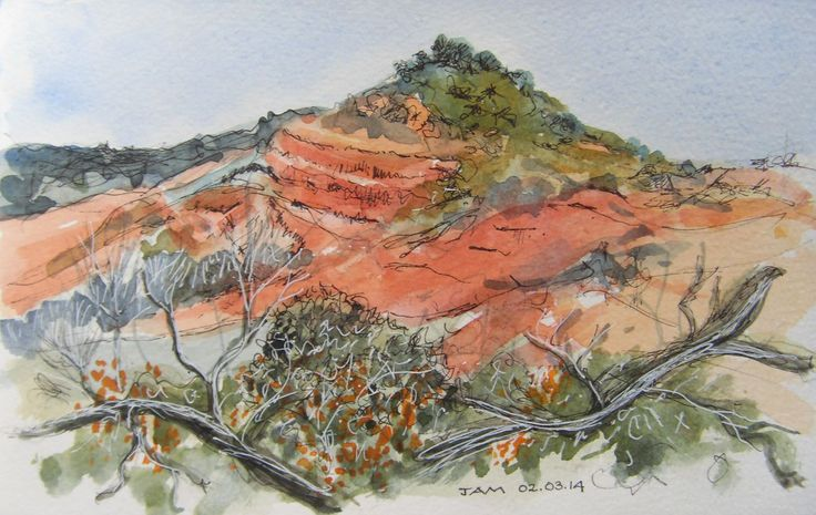 """""""Red Hill"""" by Judith Alsop Miles. Line and wash drawing of the red hill near Peyrolles, Languedoc-Roussillon (France). It always reminds me of Bell Rock in Sedona AZ."""
