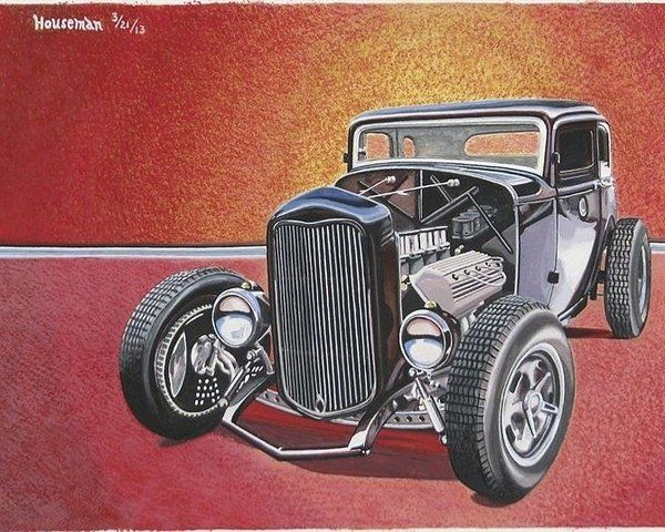 Automotive Poster featuring the painting Deuce Coupe by John Houseman
