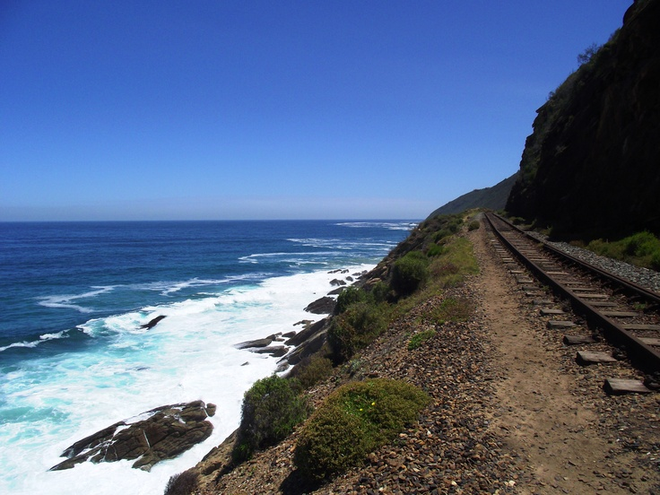 Railway tracks from Wildernis to Victoria Bay (Garden route - South Africa)
