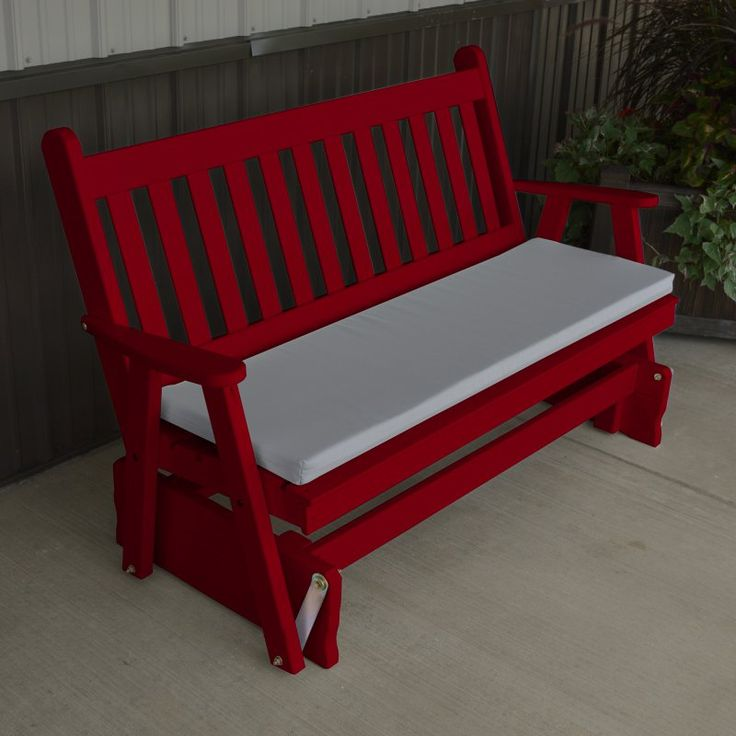 A & L Furniture Yellow Pine Traditional English Outdoor Bench Glider Tractor Red - 602-TRP TRACTOR RED