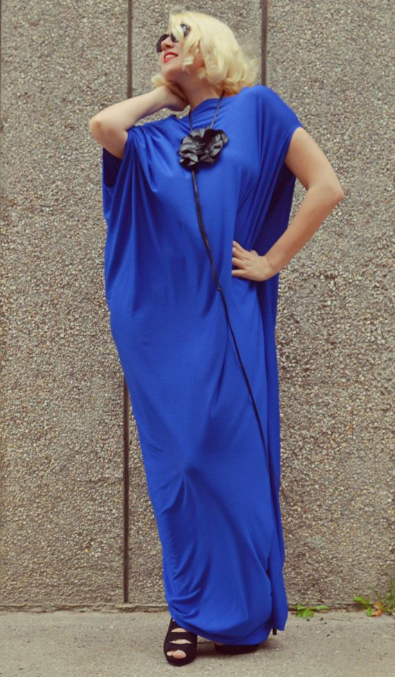 Royal Blue Maxi Dress / Plus Size Blue Kaftan / by Teyxo on Etsy