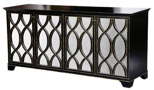 "Furniture. Mirrored door chest. Oly 73""w x 20.75 d x 34"" comes in dark brown with gold or silver details."