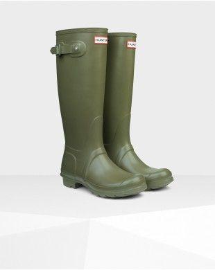 Hunter Women's Original Tall Wellington Boot Olive #HUNTER  hunterbootsonsale.com