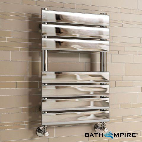 650x400mm Chrome Flat Panel Ladder Towel Radiator - Francis Premium - BathEmpire