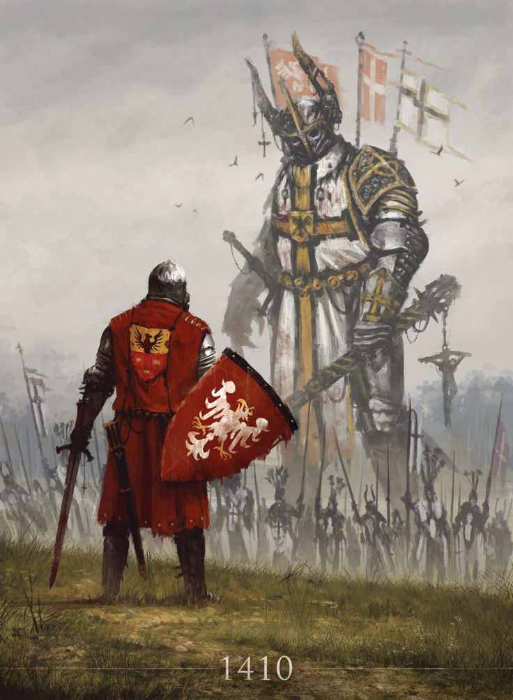 jakubsan: 1410 My new painting commemorating the Battle of Grunwald where the combined forces of Polish and Lithuanian knights crushed the power of the Teutonic Order. It was the largest battle of the Middle Ages. If you know who is this character in the foreground then you know that the big guy at the back has a serious problems :) Cheers!