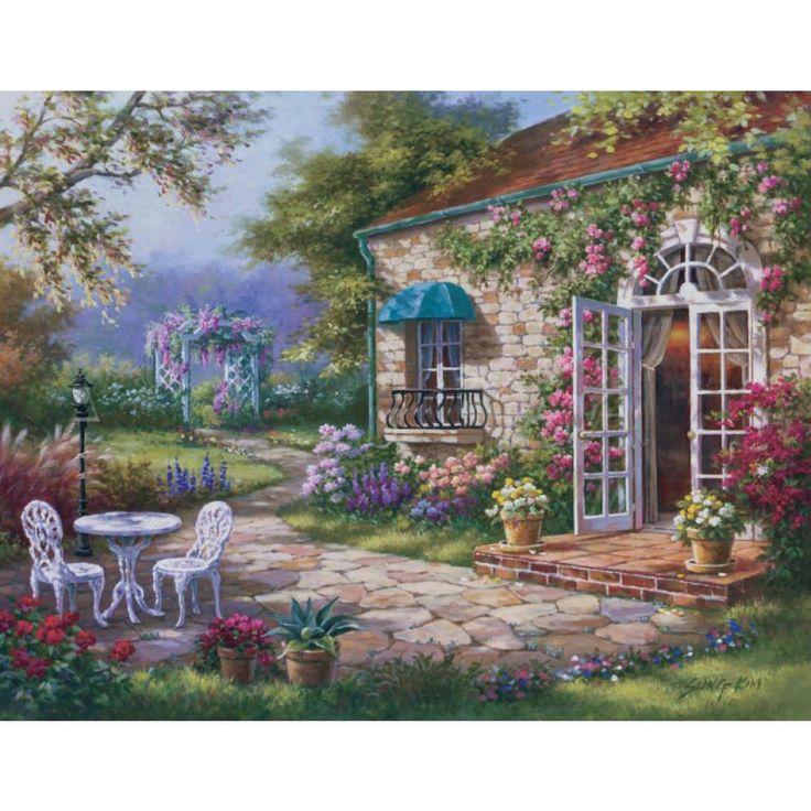 Mediterranean Spring Patio II landscape canvas print for wall art home decor
