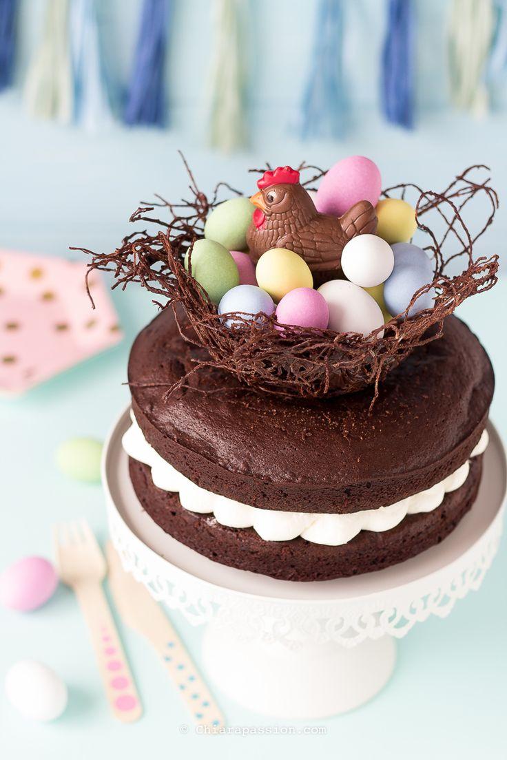 Torta nido di Pasqua. Easter recipe- Mud Cake. easter egg nest cake. noodles nest. Meri Meri party
