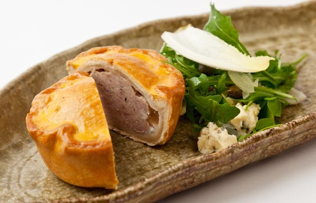 Pork pie with Stilton salad
