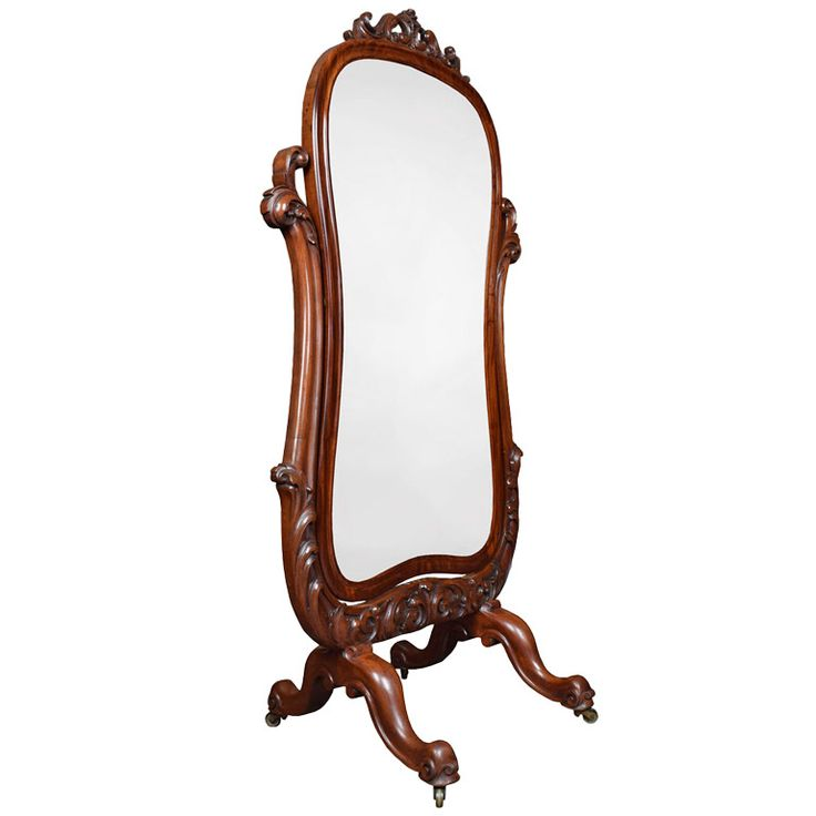 Carved Mahogany Cheval Mirror | From a unique collection of antique and modern floor mirrors and full-length mirrors at https://www.1stdibs.com/furniture/mirrors/floor-mirrors-full-length-mirrors/