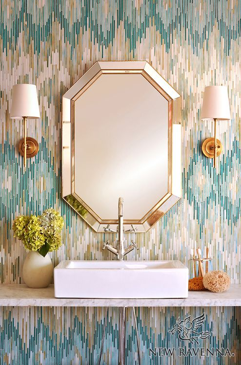 Loom, a handmade jewel glass mosaic shown in Quartz, Aquamarine, Tanzanite and Turquoise, is part of the Ikat Collection by Sara Baldwin for New Ravenna Mosaics.<br /> <br /> As seen in Coastal Living.<br /> <br /> Take the next step: prices, samples and design help, http://www.newravenna.com/showrooms/