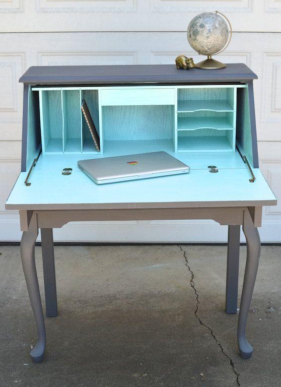 Secretary Desk Slate and Aqua Painted Curved by brasshipposhop