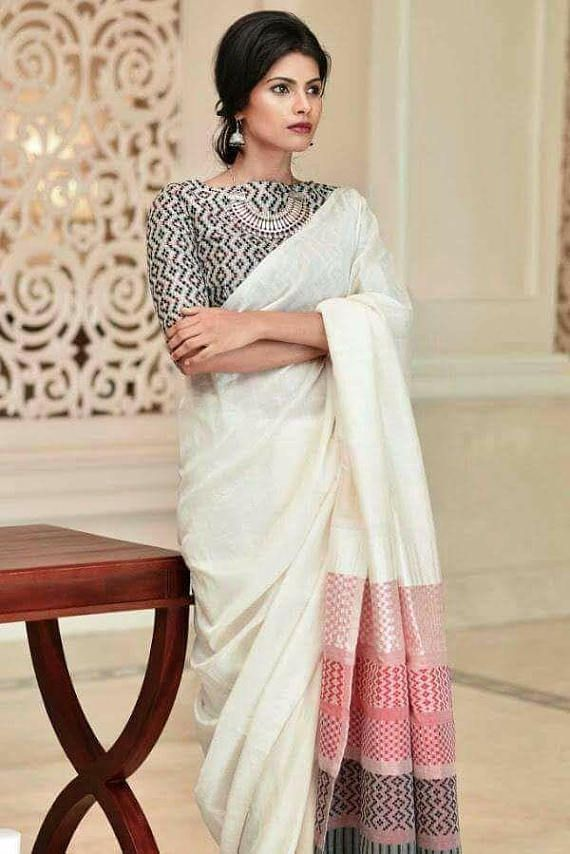 Khadi jamdani; Handloom khadi jamdani; Khadi cotton jamdani Saree, Jamdani Saree, Saree #afflink #saree #khadhi #ethnic #handloom #simplicity