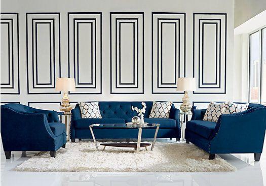 picture of Sofia Vergara Monaco Court Indigo 5 Pc Living Room from Living Room…