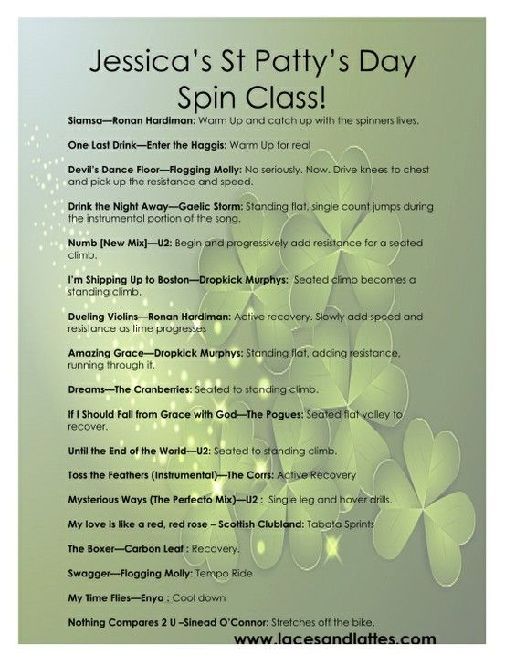 St Patricks Day Spin Class! I might have to try this one next Mar. 17th
