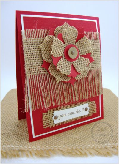 handmade card ... red and burlap ... luv how she used the burlap: punched and layer flower, background with some long frayed edges and backing for the label ... fabulous card!! ... Stampin' Up!