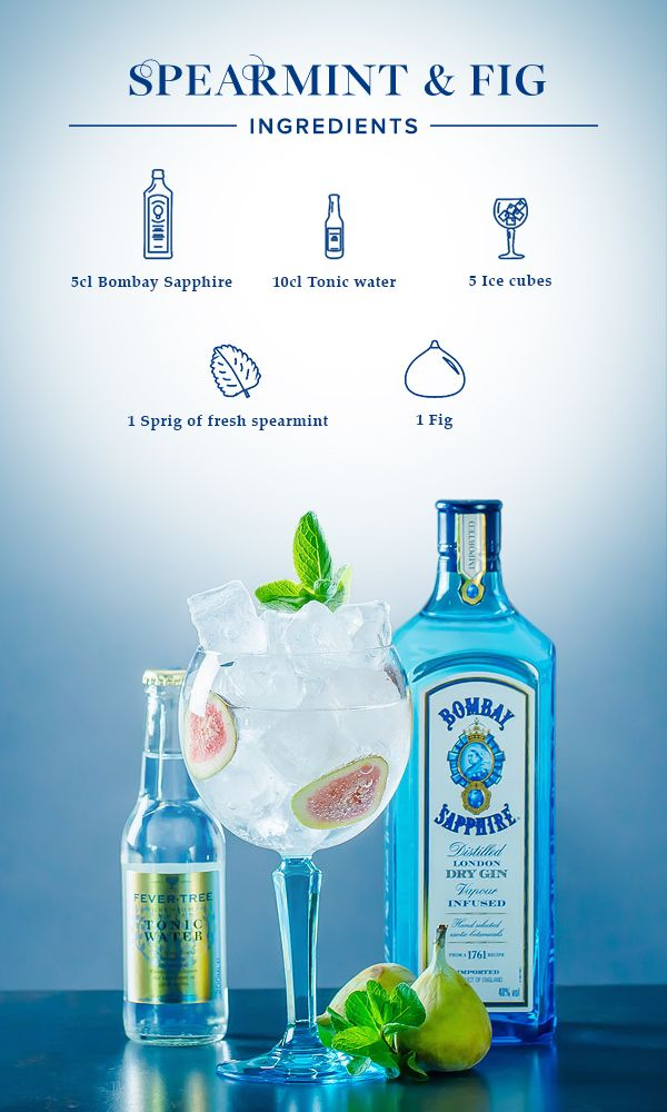 Spearmint & Fig:  1. Quarter or slice the fig. 2. Gently squeeze the spearmint and put it in the glass along with the fig. 3. Fill glass with ice cubes, add 5cl Bombay Sapphire and top off with tonic water.