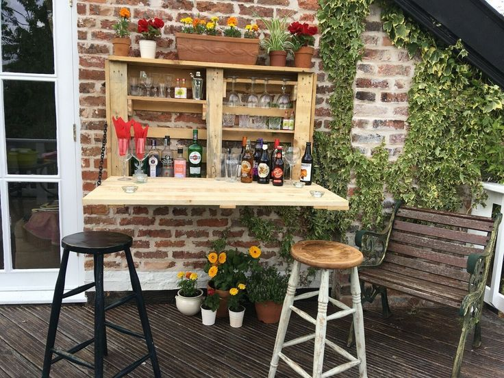 The Garden Bar Wall Mounted Sturdy Hand Made In Solid Wood Easy Fold Away Outdoor Pallet Bar Hot Tub Accessories Indoor Bar