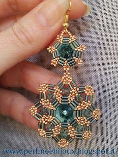 Beaded Earring Mandala 2 Perline e Bijoux: Orecchini   bugle, bicone  rivoli