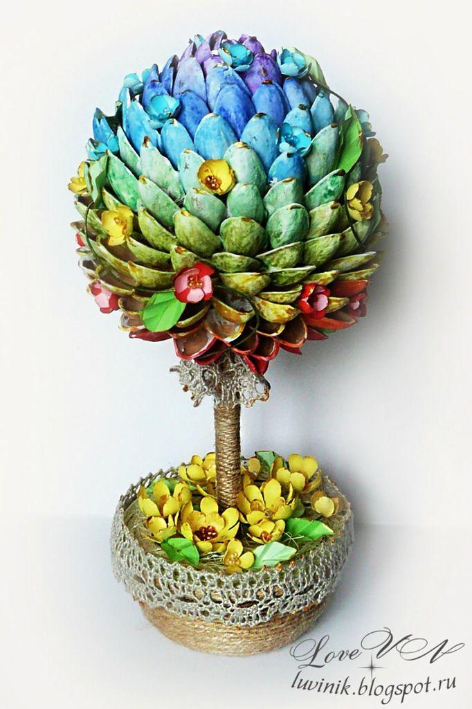 Общее задание № 3 - Встречаем весну. Топиарий. - pistachio shells & paper quilling.  Russian artist.