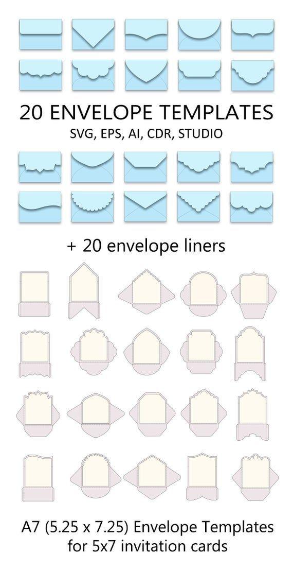 Set Of 20 A7 Envelope Templates 5 25 X 7 25 For 5x7 Invitation Card Svg Ai Crd Eps Cricut Cameo Scanncut Instant Download 311 Envelope Template Diy Envelope Template Envelope