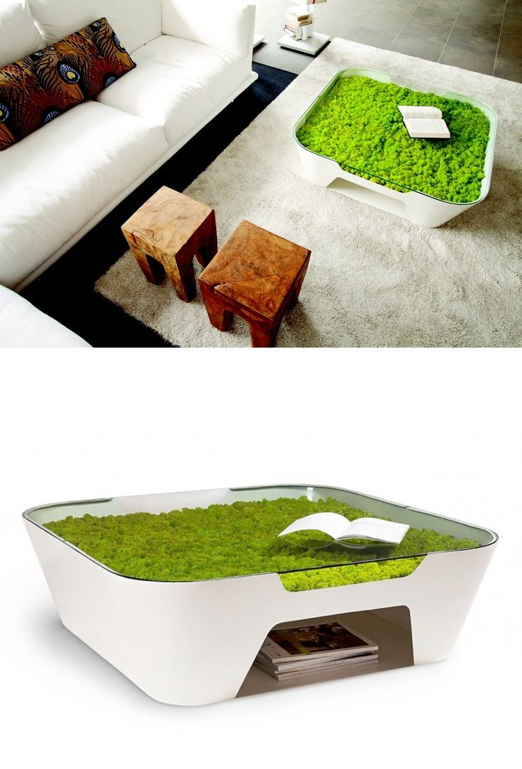 #11 of 20 Uniquely Designed Beautiful Coffee Tables. Bringing in elements of nature is one thing, but this coffee table is nature itself. With a mossy growth underneath the glass tabletop, this look is incredibly unique and very eco-friendly. Designer: Verdi Profolio