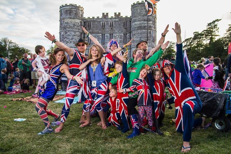 People in team GB Olympics fancy dress at Camp Bestival, Lulworth, UK on Saturday 28th July 2012. Photo by Melissa North.  Ref B2779 [Team CB uniform designed by Mark Blamire]