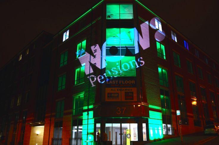 Exterior lighting and custom gobo for Now: Pensions Nottingham