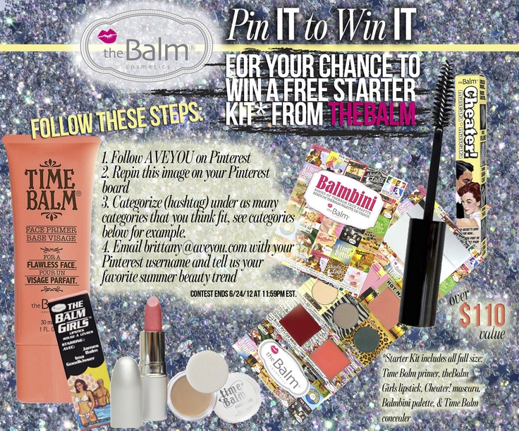 Pin It to Win It Contest: theBalm Starter Kit for FREE from AVEYOU #bombbalm #beautyforthebeast #mommasdream #fixaflaw #warpaint #lushmeup #cosmodreams #mommyslittlehelper: Makeup, Cosmetics, Beauty, Lipstick Eyes
