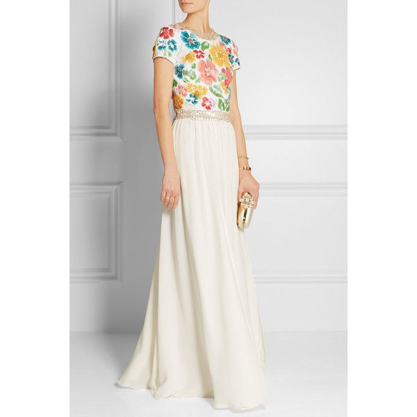 Jenny Packham Embellished silk-twill top featuring polyvore women's fashion clothing tops floral top white sequin top beaded top zip top floral print top