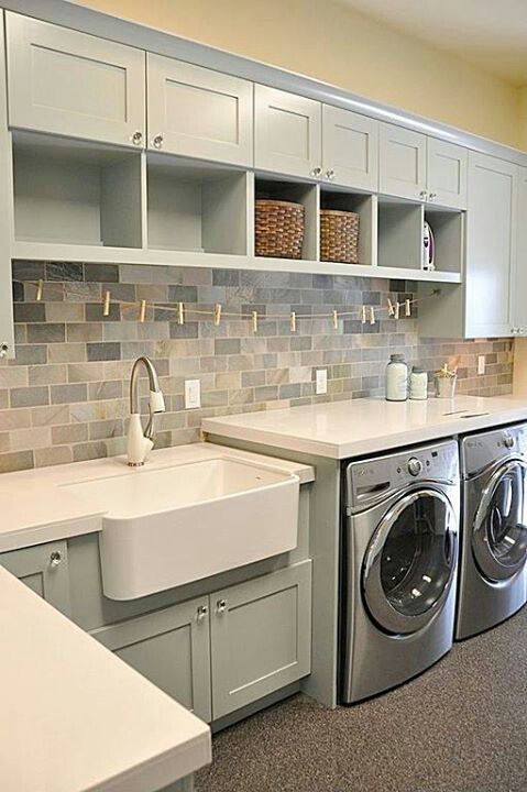 laundry room tile backsplash cabinet color