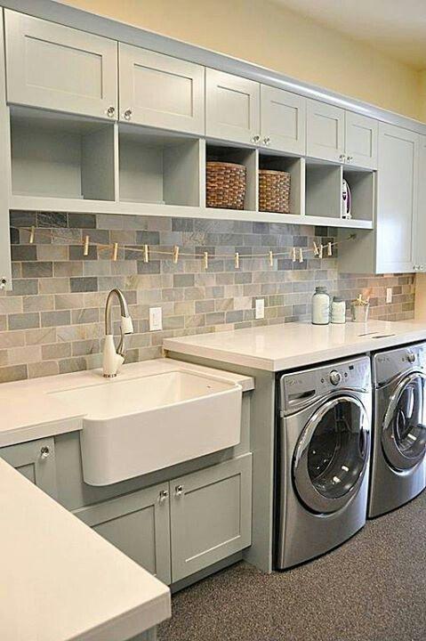 Laundry Room - Tile backsplash - Cabinet color