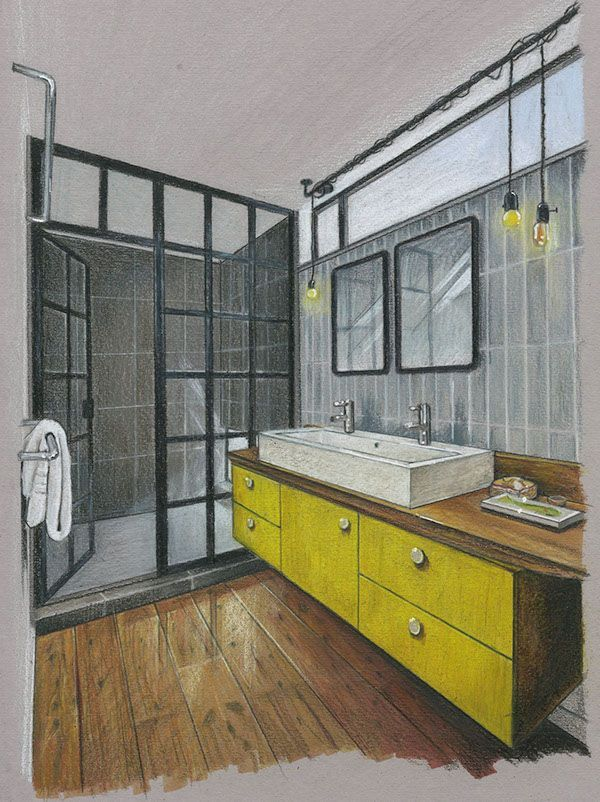 bathroom. hand rendering. windows