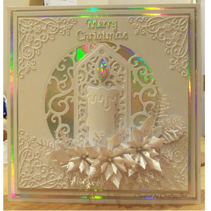 White on white (with a bit of mirri) Christmas card, made with a whole variety of dies...