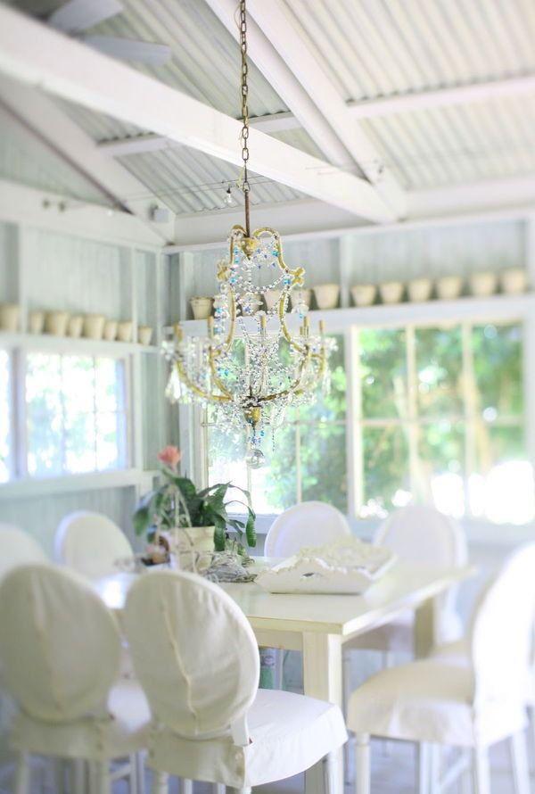 Back porch + chandelier...