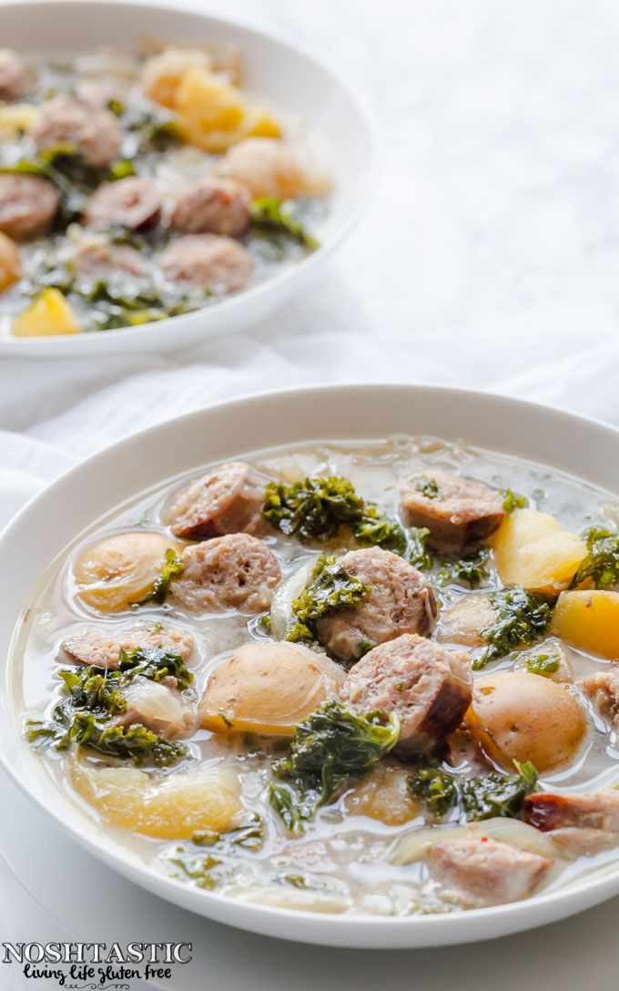 A very easy Olive Garden Copycat forGluten Free Zuppa Toscana soup that can be made in your slow cooker or crockpot in just a few hours.