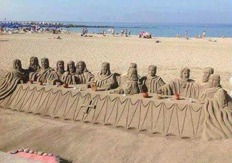 The Last Supper sand sculpture at beach