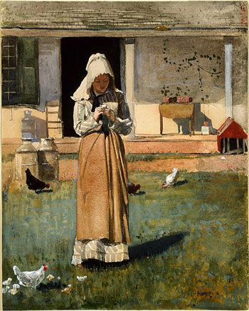 The Sick Chicken by Winslow Homer 1874  From the National Gallery of Art. Homer often focused on solitary female figures absorbed in thought or their work.