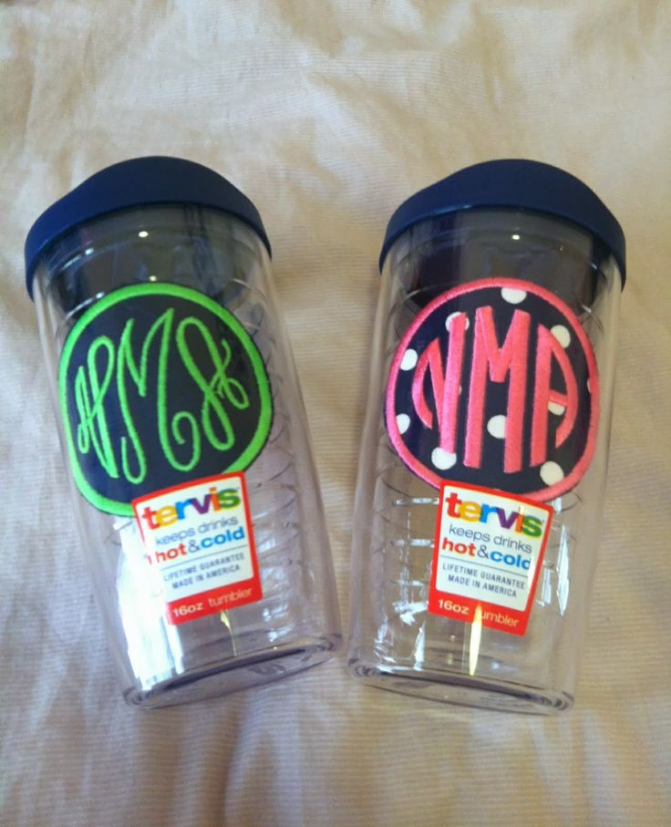 Monogrammed Tervis Tumblers with patches! Not just vinyl