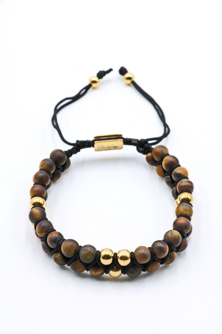 Frosted Brown Tiger Eye Double Beaded Bracelet 6mm
