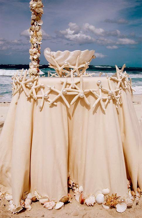 This Starfish Garland is ideal as table decor or even to adorn your wedding arch. Adorn your tables with starfish, shells and pearls to create a striking beach setting. Using clear fishing gut or a similar material, string your purchased or collected starfish and sea shells together and secure it to adorn your wedding tables or ceremony arch.